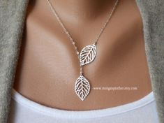 Leaf Lariat Petite silver grey white small by thelovelyraindrop