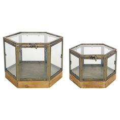Melrose International 72506 Octagon Glass Box with Copper Frame, Set of Two Copper Wood, Copper Frame, Wood And Metal, Decorative Accessories, Decorative Boxes, Small Terrarium, Melrose International, Glass Spice Jars, Vanity Box