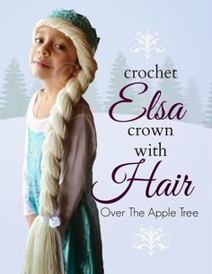 Crochet Elsa Crown With Hair, free pattern >> Over The Apple Tree . ☀CQ #crochet #apparel #frozen #olaf #elsa