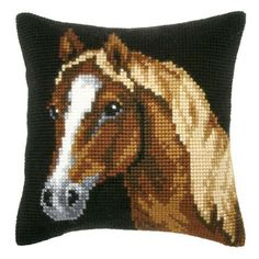Orchidea Bay Horse Pillow Cover Needlepoint Kit Cross Stitch Horse, Cross Stitch Charts, Cross Stitch Designs, Cross Stitch Embroidery, Cross Stitch Patterns, Needlepoint Kits, Needlepoint Canvases, Cross Stitch Cushion, Crochet Horse