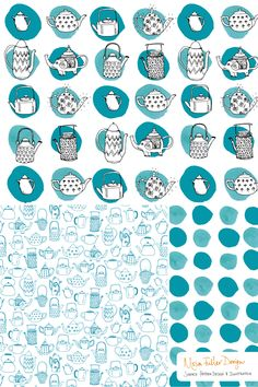 Moira Fuller Design - freelance surface pattern designer   Dotty Teapots