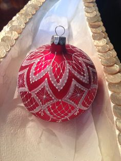 Hand painted Lace Christmas Ornament Christmas by HandpaintedLace, $24.99
