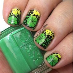 Painted Nubbs: Sunny Summer Lemon-Lime Nail Stamping