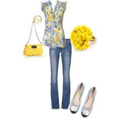 Untitled #111, created by mikaelasiemens on Polyvore.  Might do a different colored purse but the shirt is cute!