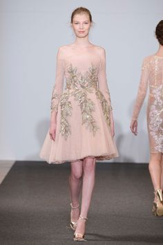 Dany Atrache | Spring 2016 Couture | 05 Pink lace embellished off shoulder mini dress (front)