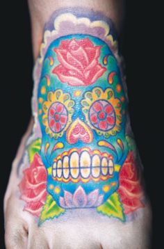Another dia de los muertos themed foot tattoo by Durb Morrison