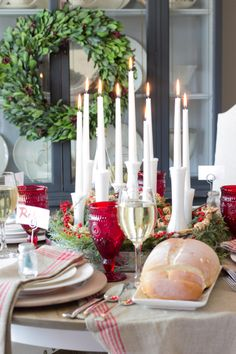 Bud Vase Candle Holder Centerpiece and Christmas Tablescape - Bless'er House
