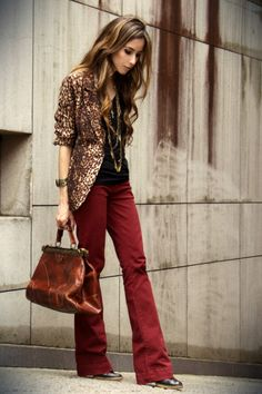 Red pants+ leopard print