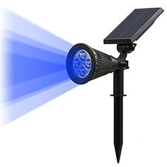 TSUN Solar LED Outdoor Spotlight Wall Light IP65 WaterproofAutoon At NightAutooff By Day180angle Adjustable for Tree Patio Yard Garden Driveway Stairs Pool Area Blue 1 -- Click image for more details.