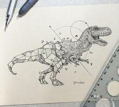 Geodinosaur - Animals meet geometry in striking illustration series.