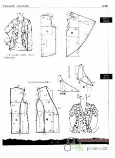 Non-English site but good photos of pattern layouts and dimensions Dress Sewing Patterns, Sewing Patterns Free, Clothing Patterns, Collar Pattern, Jacket Pattern, Cardigan Pattern, Sewing Blouses, Diy Tops, Modelista