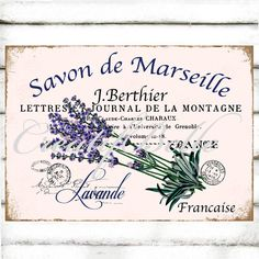 French Lavender Bathroom Art Large Instant by CreatifBelle Embroidery Transfers, Embroidery Patterns, Printable Designs, Printable Art, Free Printables, French Vintage, Shabby Vintage, Herb Labels, Lavender Crafts