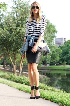 black & white stripe top, black pencil skirt, denim jacket