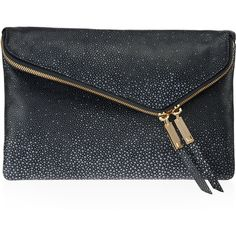 """Stingray embossed leather.  Magnetic closure.  Interior zippered pocket.  Double zippered fold over compartment.  Removable shoulder chain: 21"""" Drop.  Satin li…"""