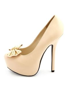 8c4fba86043 Chained Bow-Front Platform Pump  Charlotte Russe