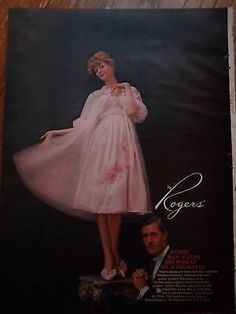 1959-ROGERS-LINGERIE-Lady-Pink-Nightgown-Slippers-Ad