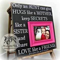 Aunt Gift Personalized Picture Frame 16x16 ONLY AN AUNT First Birthday Christening Baptism Dedication Godmother Godparents The Sugared Plums. $75.00, via Etsy.