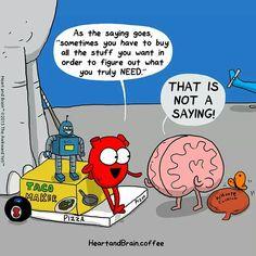 Heart and Brain - The Awkward Yeti Funny Cartoons, Funny Comics, Heart And Brain Comic, The Awkward Yeti, Akward Yeti, Brain Book, Funny Quotes, Funny Memes, Jokes