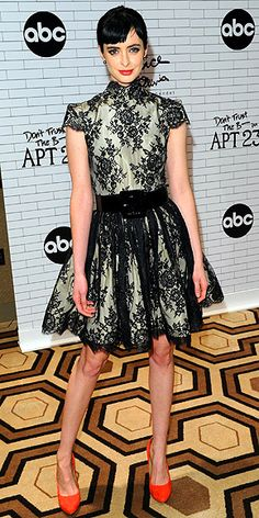 KRYSTEN RITTER  To celebrate her new series Don't Trust the B– in Apartment 23, the star attends an N.Y.C. screening in a lacy Alice + Olivia high-neck dress, Samantha Wills earrings and red Aldo pumps.
