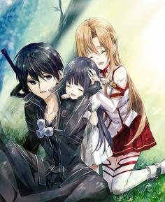 Kirito, Asuna, and Yui _Sword Art Online