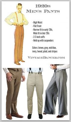 Style Men's Pants, Trousers, Plus Four Knickers - - Shop for new men's pants. High waists, wide or classic legs and cuffed hems. These new trousers work well for a quality inspired costume. 1920s Outfits, Vintage Style Outfits, Vintage Fashion, 1920s Mens Outfit, Victorian Fashion, Abercrombie Men, 1920 Men, Moda Art Deco, Look Fashion