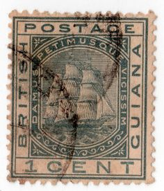 British Guiana (Guyana) Sc 72 1¢ Slate F-VF LCH Perf 14 WM Crown & CC 1876