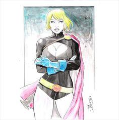DI AMORIM- POWER GIRL DARK Drawing Pinup ORIGINAL ART