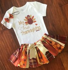 d81ae9a0c My First Thanksgiving Fall baby outfit - Baby Girl Thanksgiving Outfit -  Thanksgiving Turkey Bodysuit - Newborn Thanksgiving Outfit