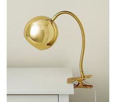 Kids Lighting: Gold Vintage Clip On Table Lamp