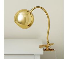 Kids Lighting: Gold Vintage Clip On Table Lamp