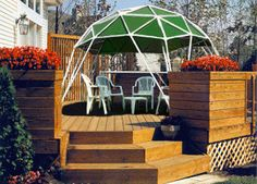 The GeoGazebo® Anchors To Wooden Decks Providing Unsurpassed Sunshade With Style!