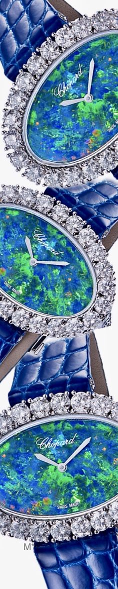 CHOPARD 'L'Heure du Diamant' watch with oval opal dial and blue alligator leather strap Love And Light, Peace And Love, High Jewelry, Jewellery, Cosmic Consciousness, Akashic Records, Razzle Dazzle, Peacock Blue, Chopard