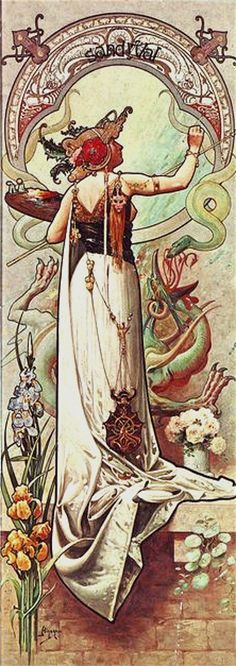 """by Louis Théophile Hingre ~ Born November 19, 1932 predating Mucha by 28yrs who was born July 24, 1860. Most of his work was done while Mucha was still an infant which makes him the true father of Art Nouveau (even though Mucha popularized it). ~ M.S.M. Gish ~ Miks' Pics """"Alphonse Mucha"""" board @ http://www.pinterest.com/msmgish/alphonse-mucha/"""