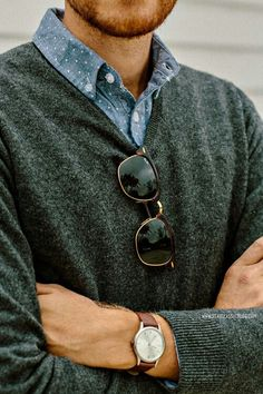 soft sweater over button down