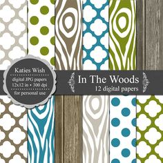 In The Woods Digital Paper Kit - Instant Download. $5.00, via Etsy.