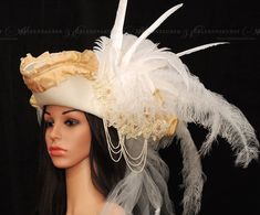 Bridal jewelery//Wedding//GothicHat//Bridal Jewelry//Tricorne//hat with veil//white//Hat Pirate Wedding, Pirate Hats, Cute Hats, Diy Costumes, Hats For Women, Wool Felt, Bridal Jewelry, Veil, Pirates