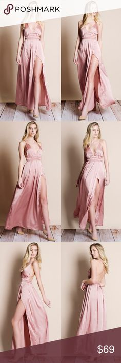 """Satin Backless Maxi Dress Dusty pink satin tie up Backless maxi dress. This is an ACTUAL PIC of the item - all photography done personally by me. Model is 5'9"""", 33""""-25""""-36.5"""" wearing the size small. NO TRADES DO NOT BOTHER ASKING. PRICE FIRM. Bare Anthology Dresses Maxi"""