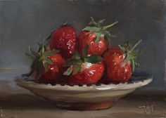 daily painting titled Bowl of strawberries - click for enlargement