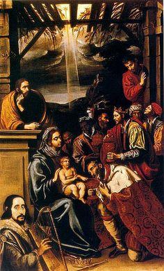 Luis Tristán - Adoración de los Reyes. Colecció Stirling Pollock House. Glasgow