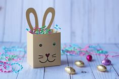 SVG File: Cute Easter Bunny Treat Box Cut File | Instant Download by Essyjae on Etsy