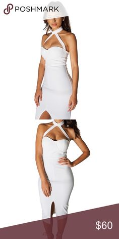 White midi dress with front slit and neck choker White midi dress with strappy detail. The absolutely perfect white dress. This dress fits really well and it's a staple item for a woman's closet. *This product is brand new never worn, may or may not have tags attached* WardrobeWorthy.Com Dresses Midi
