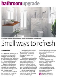Featured in Australian publication - Rouse Hill Times Dream Bathrooms, Small Bathroom, Bathroom Ideas, Shelving, Times, Design, Small Shower Room, Shelves