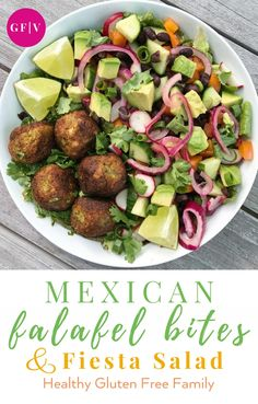 Mexican Chopped Salad, recipe fromThe Crunchy Radish, & Mexican Vegan Falafel Bites, recipe from Cotter Crunch. The salad has Romaine, Black beans, Cucumber, Radish, Pepper, Avocado, Scallions and Cilantro. You could add any veggies & it would still be yum. To me it was about the dressing & the pickled onions. The Mexican Falafel Bites recipe is nearly grain-free using just 2 tbsp of gluten-free flour & a base of broccoli/cauliflower rice, & are flavored withjalapeño, cumin…