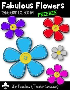 Fabulous Flowers FREEBIE clip art!  You will LOVE these bright colored flowers!   These flowers are cheerful, and ready to join your classroom!  They are absolutely perfect for adding to parent newsletters, literacy and writing stations, activities, printables and student worksheets, holiday materials, etc. ...I'm thinking Spring and Summer FUN!Commercial use is okay, but please read and follow the terms of use.