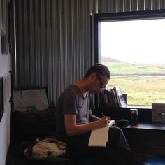 Drawing at my artists residency at Single Track Coffee in Skye, blessed with amazing people and weather