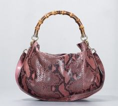 Gucci Pink Ombre Python Bamboo Handle Peggy Hobo Bag