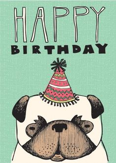 Pug birthday card #compartirvideos #felizcumple
