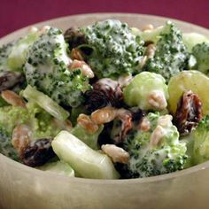 Broccoli Salad Recipe       5 to 6 cups fresh broccoli florets      1/2 cup raisins      1/2 cup sunflower seeds      1/2 cup cooked, crumbled bacon      1/4 cup of red onion, chopped      1 cup of frozen peas, thawed, optional      .      Dressing:      1 cup mayonnaise      2 tablespoons vinegar      1/4 to 1/2 cup sugar, or to taste