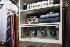 Orbita watch winder in a Classic closet organizer system.