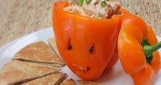Carve an orange bell pepper and fill with this Tempura Chicken Salad Recipe for #Halloween. #KahikiEntry #party